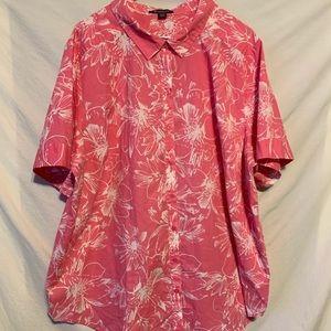 Roamans 30W 4X pink white short sleeve shirt 2007